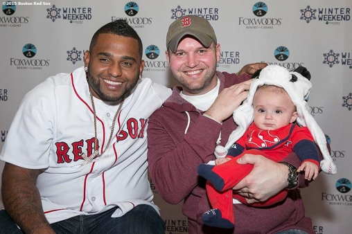 """Boston Red Sox third baseman Pablo Sandoval poses for a photograph with fans during the Red Sox Winter Weekend at Foxwoods Resort and Casino in Ledyard, Connecticut Saturday, January 24, 2015."""