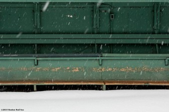 """The bullpen is shown as snow falls at Fenway Park in Boston, Massachusetts Friday, January 30, 2015. """