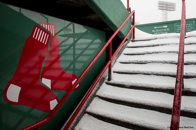 """Steps are shown as snow falls at Fenway Park in Boston, Massachusetts Friday, January 30, 2015. """