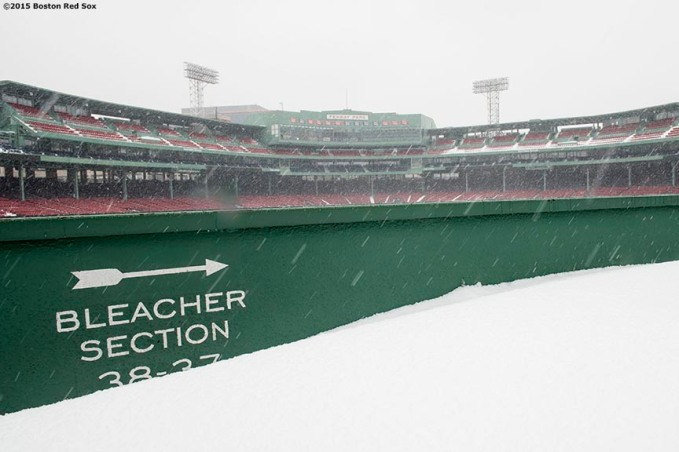 """The bleacher section is shown as snow falls at Fenway Park in Boston, Massachusetts Friday, January 30, 2015. """
