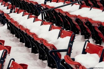 """Seats are shown as snow falls at Fenway Park in Boston, Massachusetts Friday, January 30, 2015. """