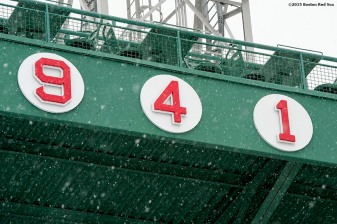 """The retired numbers are shown as snow falls at Fenway Park in Boston, Massachusetts Friday, January 30, 2015. """