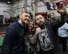 BOSTON, MA - JANUARY 09: UFC fighter Conor McGregor poses for a photograph during a community event at Peter Welch's Gym on January 9, 2015 in Boston, Massachusetts. (Photo by Billie Weiss/Zuffa LLC/Zuffa LLC via Getty Images)