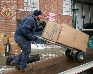 """Boxes are loaded into the truck during Boston Red Sox truck day Thursday, February 12, 2015 at Fenway Park in Boston, Massachusetts."""