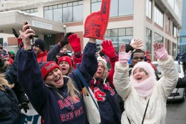 """Fans cheer during Boston Red Sox truck day Thursday, February 12, 2015 at Fenway Park in Boston, Massachusetts."""