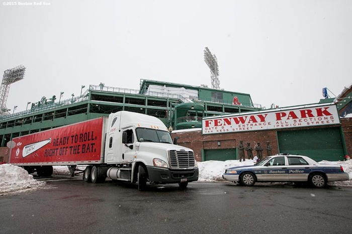 """The truck leaves Fenway Park during Boston Red Sox truck day Thursday, February 12, 2015 at Fenway Park in Boston, Massachusetts."""