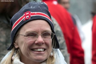 """A fan cheers during Boston Red Sox truck day Thursday, February 12, 2015 at Fenway Park in Boston, Massachusetts."""
