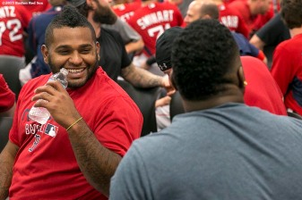 """Boston Red Sox third baseman Pablo Sandoval attends a team meeting at JetBlue Park in Fort Myers, Florida Wednesday, February 25, 2015."""