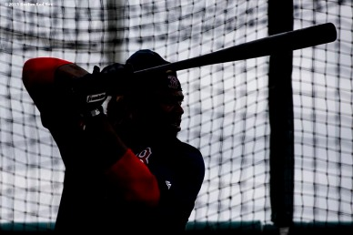 """Boston Red Sox left fielder Hanley Ramirez takes batting practice during a team workout at JetBlue Park in Fort Myers, Florida Wednesday, February 25, 2015."""