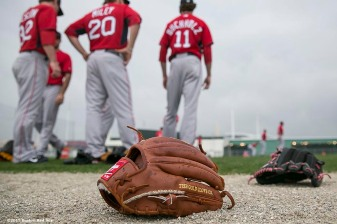 """""""Boston Red Sox pitchers warm up during a team workout at JetBlue Park in Fort Myers, Florida Thursday, February 26, 2015."""""""