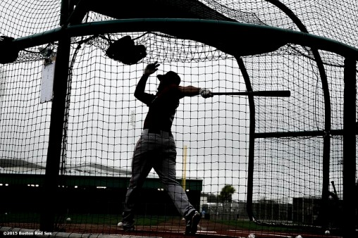 """""""Boston Red Sox shortstop Xander Bogaerts takes batting practice during a team workout at JetBlue Park in Fort Myers, Florida Thursday, February 26, 2015."""""""