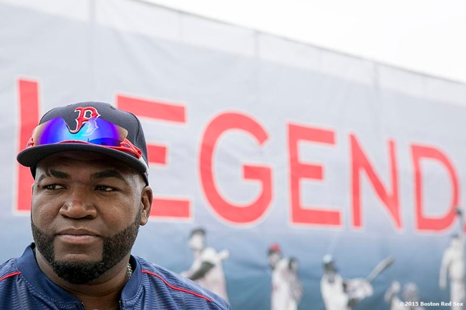 """Boston Red Sox designated hitter David Ortiz looks on during a team workout at JetBlue Park in Fort Myers, Florida Thursday, February 26, 2015."""