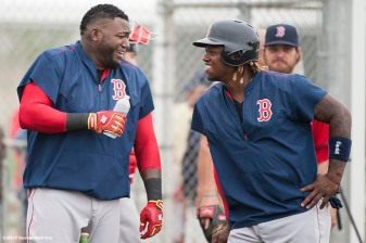 """""""Boston Red Sox designated hitter David Ortiz and left fielder Hanley Ramirez laugh during a team workout at JetBlue Park in Fort Myers, Florida Thursday, February 26, 2015."""""""