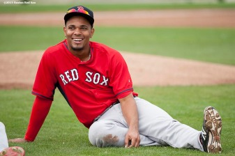 """Boston Red Sox shortstop Xander Bogaerts laughs during a team workout at JetBlue Park in Fort Myers, Florida Thursday, February 26, 2015."""