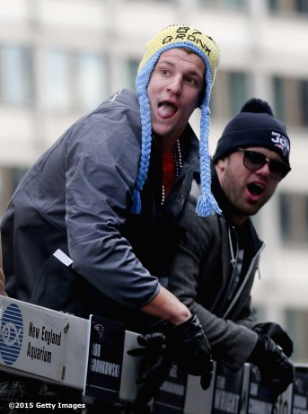BOSTON, MA - FEBRUARY 04: Tight End Rob Gronkowski of the New England Patriots celebrates during a Super Bowl victory parade on February 4, 2015 in Boston, Massachusetts. (Photo by Billie Weiss/Getty Images)
