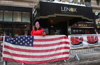 BOSTON, MA - FEBRUARY 04: Kara Magoni of Fall River, Massachusetts camps out along Boylston Street before the New England Patriots Super Bowl victory parade on February 4, 2015 in Boston, Massachusetts. (Photo by Billie Weiss/Getty Images)
