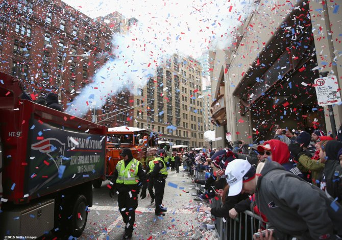 BOSTON, MA - FEBRUARY 04: A general view of the New England Patriots Super Bowl victory parade on February 4, 2015 in Boston, Massachusetts. (Photo by Billie Weiss/Getty Images)
