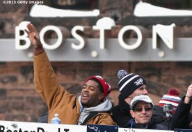 BOSTON, MA - FEBRUARY 04: Malcolm Butler of the New England Patriots waves to fans during a Super Bowl victory parade on February 4, 2015 in Boston, Massachusetts. (Photo by Billie Weiss/Getty Images)