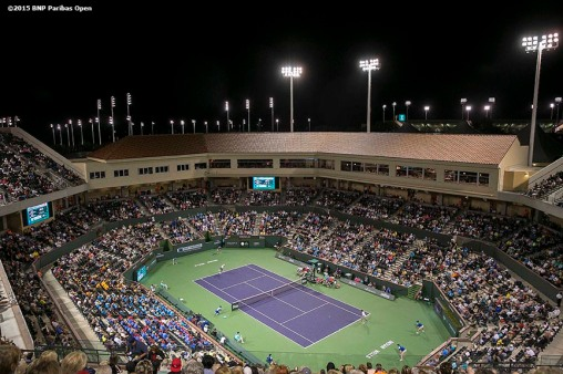 """A general view of Stadium 2 during the McEnroe Challenge for Charity presented by Masimo at the Indian Wells Tennis Garden in Indian Wells, California Saturday, March 7, 2015."""