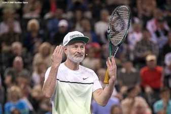 """John McEnroe reacts during the McEnroe Challenge for Charity presented by Masimo in Stadium 2 at the Indian Wells Tennis Garden in Indian Wells, California Saturday, March 7, 2015."""