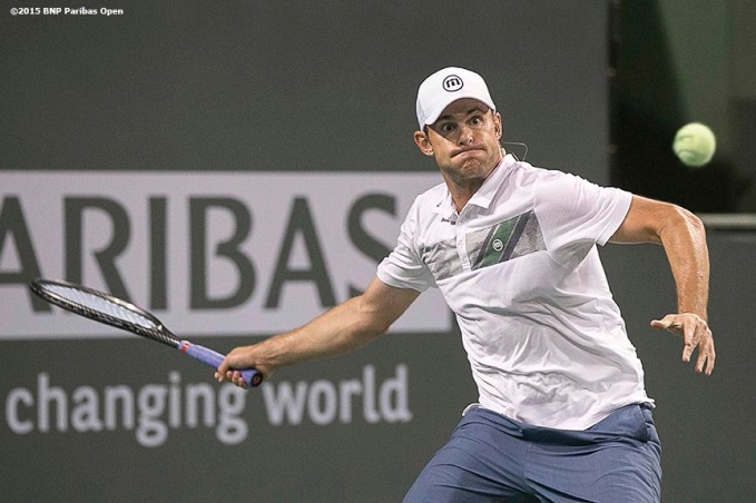 """Andy Roddick plays during the McEnroe Challenge for Charity presented by Masimo in Stadium 2 at the Indian Wells Tennis Garden in Indian Wells, California Saturday, March 7, 2015."""