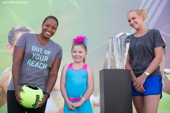 """Taylor Townsend and Donna Vekic pose for a photograph during the WTA Draw Ceremony at the Indian Wells Tennis Garden in Indian Wells, California Monday, March 9, 2015."""