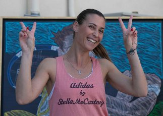 """Flavia Pennetta unveils her mural at the Indian Wells Tennis Garden in Indian Wells, California Tuesday, March 10, 2015."""