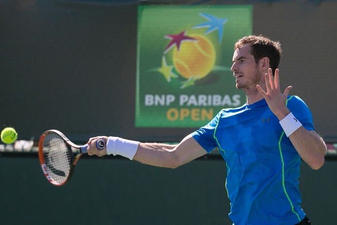 """Wells, California: Andy Murray hits a forehand during a practice session at the Indian Wells Tennis Garden in Indian Wells, California Tuesday, March 10, 2015."""