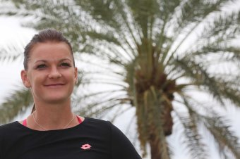 """Agnieszka Radwanska takes part in the WTA All-Access Hour at the Indian Wells Tennis Garden in Indian Wells, California Tuesday, March 11, 2015."""