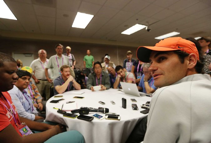 """Roger Federer takes part in the WTA All-Access Hour at the Indian Wells Tennis Garden in Indian Wells, California Tuesday, March 11, 2015."""