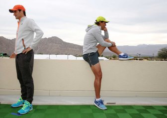 """Roger Federer and Rafael Nadal take part in the ATP All-Access Hour at the Indian Wells Tennis Garden in Indian Wells, California Tuesday, March 11, 2015."""