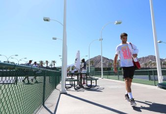 """Grigor Dimitrov practices at the Indian Wells Tennis Garden in Indian Wells, California Tuesday, March 12, 2015."""