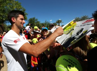 """""""Novak Djokovic unveils his mural as defending champ at the Indian Wells Tennis Garden in Indian Wells, California Tuesday, March 12, 2015."""""""