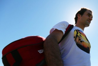 """Roger Federer practices at the Indian Wells Tennis Garden in Indian Wells, California Tuesday, March 12, 2015."""