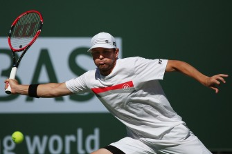 """Mardy Fish in action against Ryan Harrison during their match inside Stadium 1 at the Indian Wells Tennis Garden in Indian Wells, California Tuesday, March 12, 2015."""