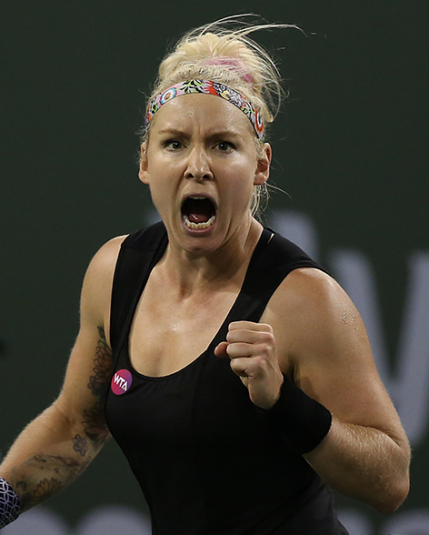 """""""Bethanie Mattek-Sands in action against Taylor Townsend during their match in Stadium 1 at the Indian Wells Tennis Garden in Indian Wells, California Thursday, March 12, 2015."""""""