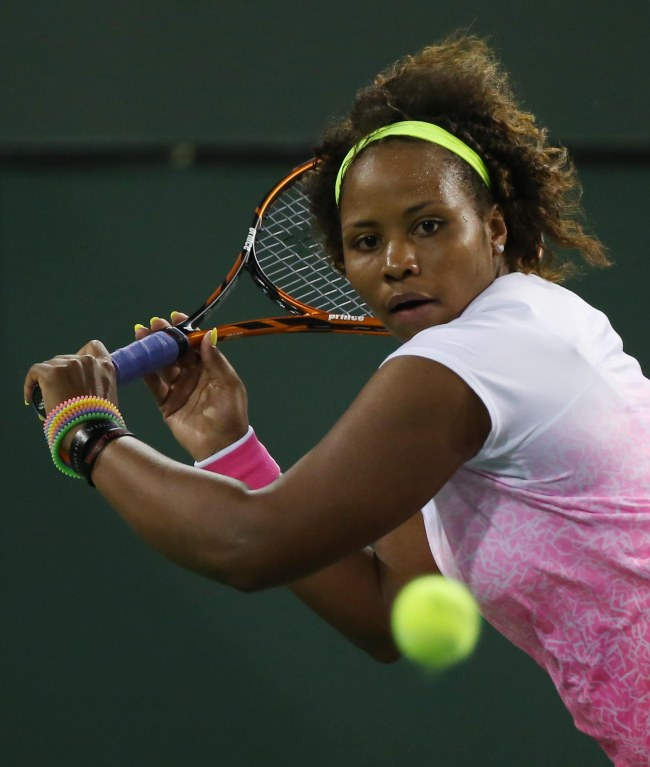 """Taylor Townsend in action against Bethanie Mattek-Sands in Stadium 1 at the Indian Wells Tennis Garden in Indian Wells, California Tuesday, March 12, 2015."""