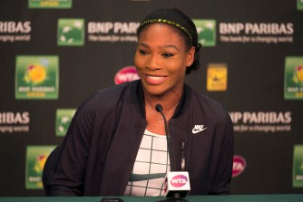 """Serena Williams speaks during a press conference at the Indian Wells Tennis Garden in Indian Wells, California Tuesday, March 12, 2015."""