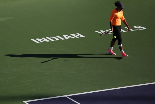"""Serena Williams practices inside Stadium 1 at the Indian Wells Tennis Garden in Indian Wells, California Tuesday, March 12, 2015."""