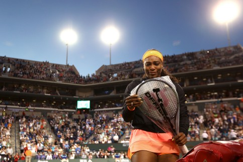 """Serena Williams plays a second round match against Monica Niculescu at the Indian Wells Tennis Garden in Indian Wells, California on Friday, March 13, 2015."""