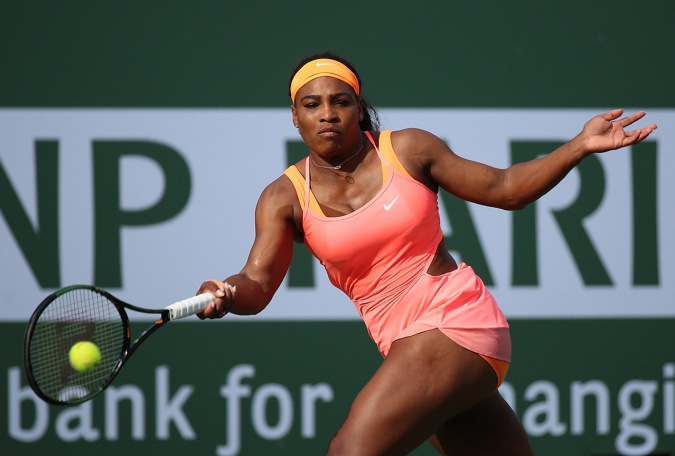 """Serena Williams in action against Zarina Diyas at stadium 1 at the Indian Wells Tennis Garden in Indian Wells, California on Sunday, March 15, 2015."""