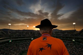 """""""Sun sets over Stadium 1 at the Indian Wells Tennis Garden in Indian Wells, California on Monday, March 16, 2015."""""""