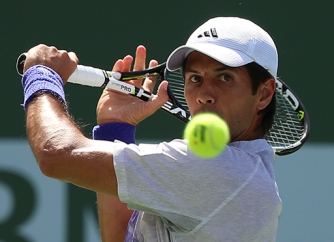 """""""Fernando Verdasco in action against Kei Nishikori during their match at stadium 2 at the Indian Wells Tennis Garden in Indian Wells, California on Monday, March 16, 2015."""""""