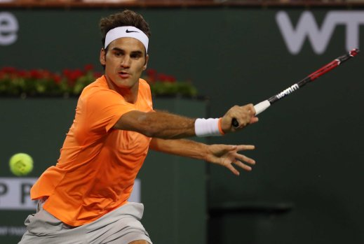 """Roger Federer in action against Andreas Seppi during their match at stadium 1 at the Indian Wells Tennis Garden in Indian Wells, California on Tuesday, March 17, 2015."""