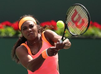 """Serena Williams in action against Sloane Stephens during their match at stadium 1 at the Indian Wells Tennis Garden in Indian Wells, California on Tuesday, March 17, 2015."""