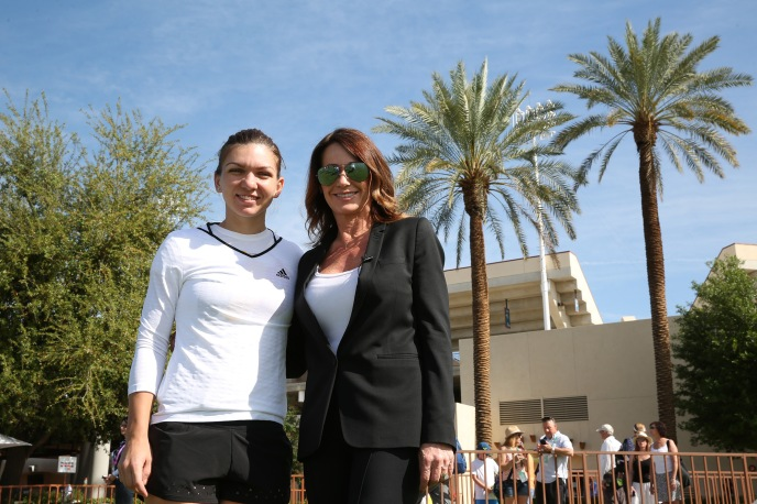 """Nadia Comaneci meets Simona Halep at the Indian Wells Tennis Garden in Indian Wells, California on Wednesday, March 18, 2015."""