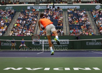 """Stadium 1 is shown during a match between Roger Federer and Jack Sock on day ten at the Indian Wells Tennis Garden in Indian Wells, California Wednesday, March 18, 2015."""