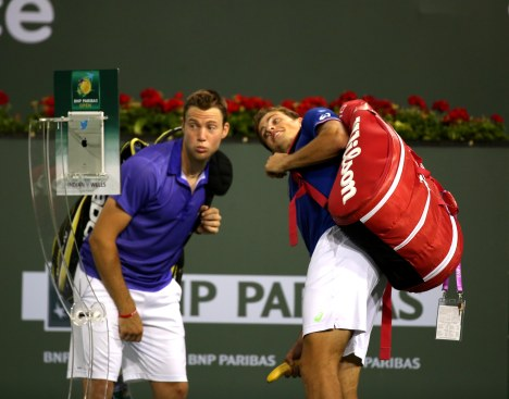 """Vasek Pospisil and Jack Sock defeat Bob and Mike Bryan at the 2015 BNP Paribas Open in Indian Wells, California on Thursday, March 19, 2015."""