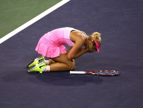 """Sabine Lisicki defeats Flavia Pennetta in a quarterfinal match of the 2015 BNP Paribas Open in Indian Wells, California on Thursday, March 19, 2015."""