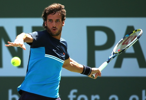"""A quarterfinal match between Andy Murray and Feliciano Lopez on Stadium 1 during the 2015 BNP Paribas Open in Indian Wells, California on Thursday, March 19, 2015."""